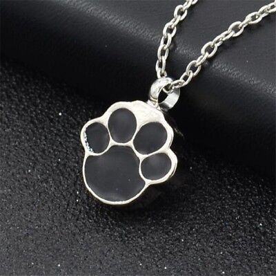 Pet Dog Paw Cremation Jewelry Ashes Keepsake Memorial  Urn Necklace Charm