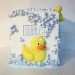 Rubber Ducky Bubbling Over Ceramic Tissue Box