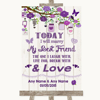 Wedding Sign Poster Print Purple Rustic Wood Today I Marry My Best Friend](Marry My Best Friend)