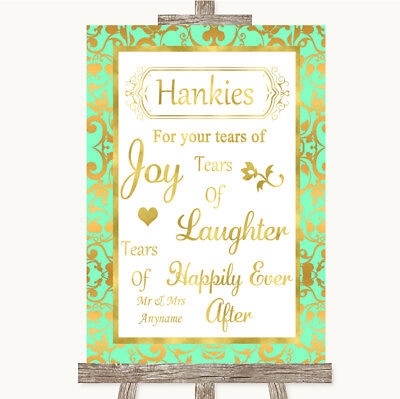 Wedding Sign Poster Print Mint Green & Gold Hankies And Tissues - Mint Green And Gold Wedding