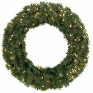 """Lighted Topiary Trees and 48"""" Lighted Wreath"""