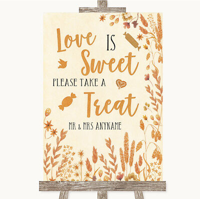 Wedding Sign Poster Print Autumn Leaves Love Is Sweet Take A Treat Candy Buffet - Fall Candy Buffet