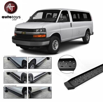 1999 2014 Ford E Series Van Black Side Steps Running Boards Nerf Bars E Series Black Side Steps
