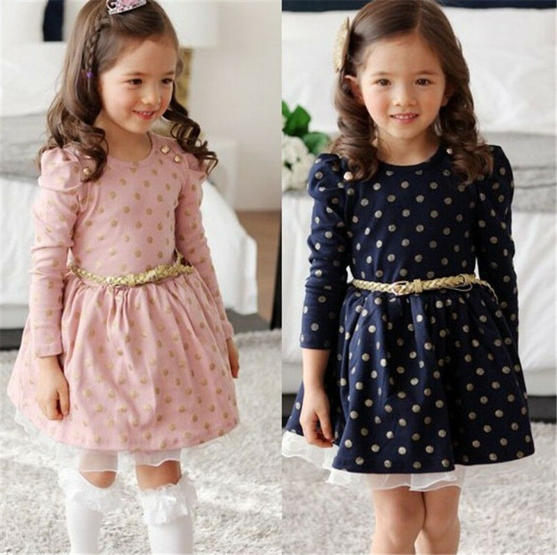 Kids/' Clothing Girl/'s Dress Children Long Sleeve Polka Dot Dress With Gold Belt