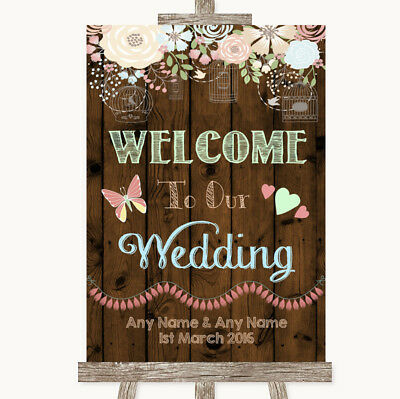 Wedding Sign Poster Print Rustic Floral Wood Welcome To Our Wedding - Welcome To Our Wedding Sign