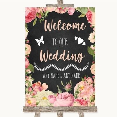 Wedding Sign Poster Print Chalkboard Style Pink Roses Welcome To Our Wedding - Welcome To Our Wedding Sign