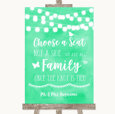 Wedding Sign Mint Green Watercolour Lights Choose A Seat We Are All - Mint Green Wedding Decorations