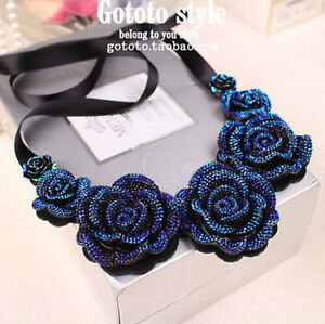 Blue Flower Bib Statement Necklace Chunky Bubble Choker Collar Pendant Chain