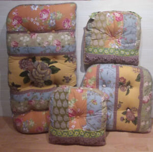 Colorful cotton seat-cushion set in new condition