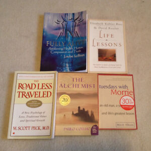 Books-Tuesdays with Morrie, Road Less Traveled, The Alchemist
