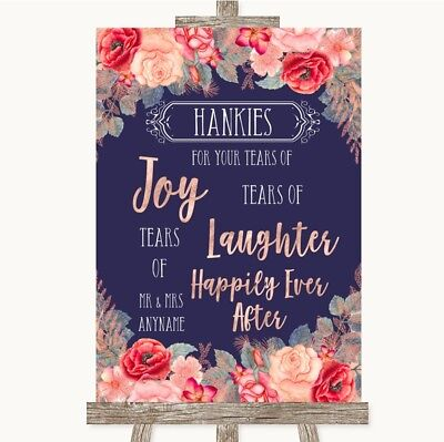 Wedding Sign Poster Print Navy Blue Blush Rose Gold Hankies And Tissues (Navy Blue And Gold Wedding)
