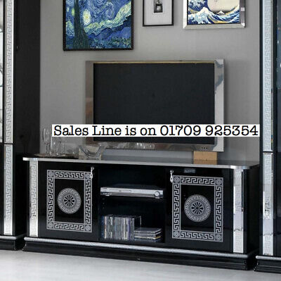 New Versace Venice Black and Silver Italian Plasma TV Cabinet