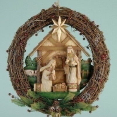 - Nativity Door Wreath Rustic Grapevine Berry 14 inch Sheep Carved Wood Look