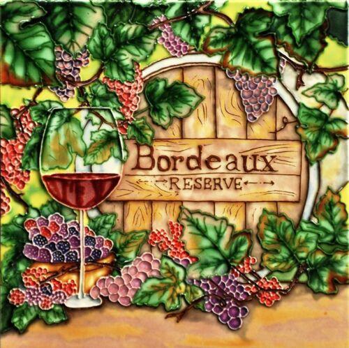 """Bordeaux Reserve - Decorative Ceramic Art Tile -8""""x8"""" by En Vogue Art on Tiles"""