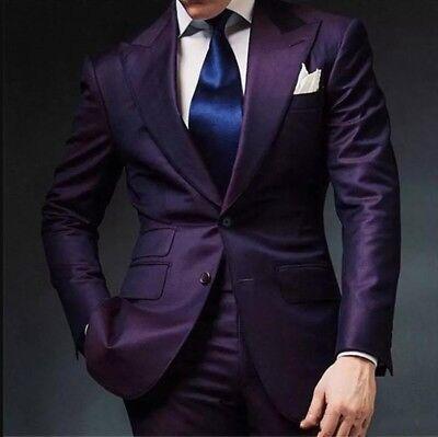 Dark Purple Wedding (2 Pieces Dark Purple Mens Suit Slim Fit Tuxedo Wedding Suits Custom Suit)