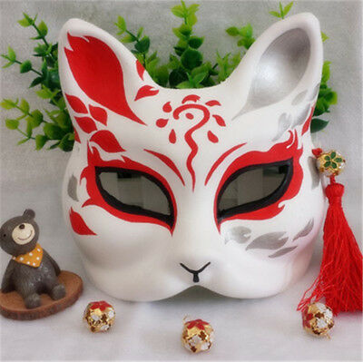 Half Face Hand-Painted Fox Mask Kitsune Halloween Cosplay Party Ball - Half Painted Halloween Faces