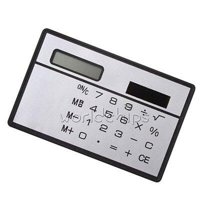 2PCS 8 Digits Ultra Thin Mini Slim Credit Card Solar Power Pocket Calculator W