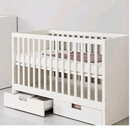 Ikea stuva white cotbed with drawers