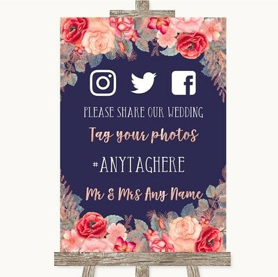 Wedding Sign Poster Print Navy Blue Blush Rose Gold Social Media Hashtag - Navy Blue Wedding