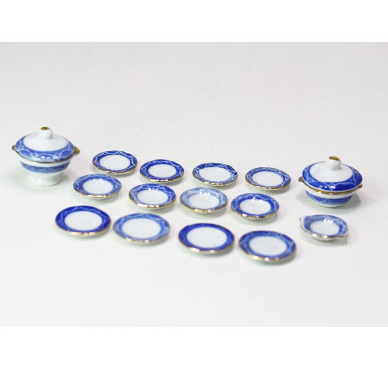 Dollhouse Miniature Blue, White and Gold Ceramic Dinner Set