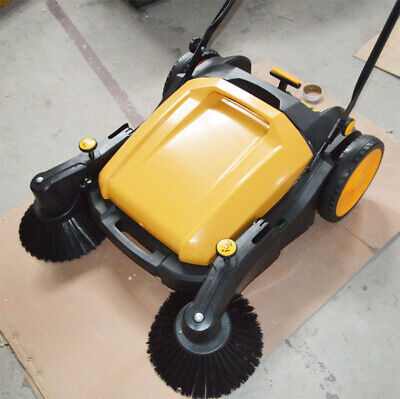 Us 1 Pc Portable Cleaner 39.5 Width Triple Brush Push Power Sweeper Pavement