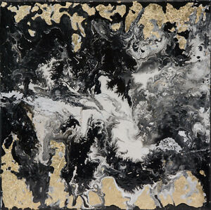 One-of-a-kind Contemporary Fluid Acrylic Painting Canvas 12x12