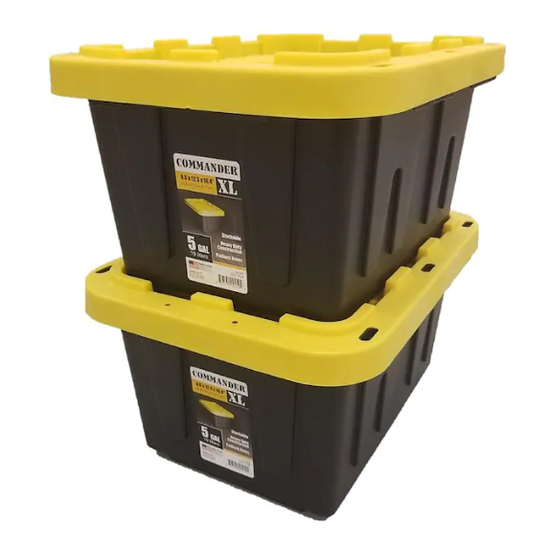 2 Pack Black and Yellow Storage Container Tote with Standard