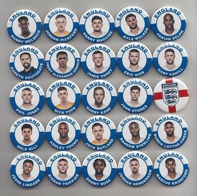 ENGLAND WORLD CUP 2018 SQUAD MAGNETS  X  25    55mm  IN SIZE