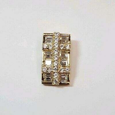 Sterling Silver Gold Plated Cubic Zirconia Rectangle Slide Pendant  Rectangle Slide Pendant
