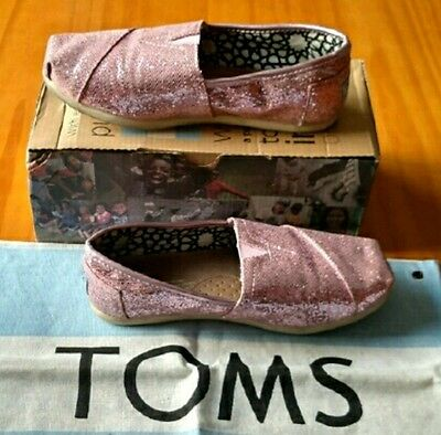 TOMS cute baby pink sparkle glitter shiny womens shoes. Size - Baby Pink Toms