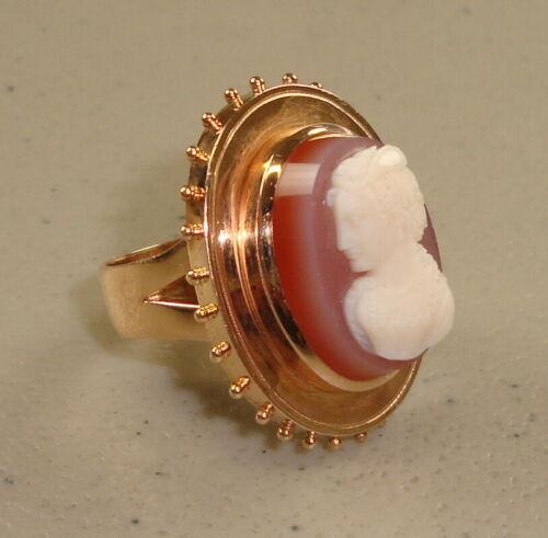 Antique 19th Century 14K Rose Gold & Sardonyx Cameo Ladies Ring, Size 7-1/2