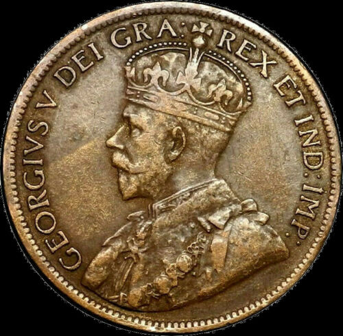 1917 Canada Large Cent 1C George V Key Date Better Grade F VF