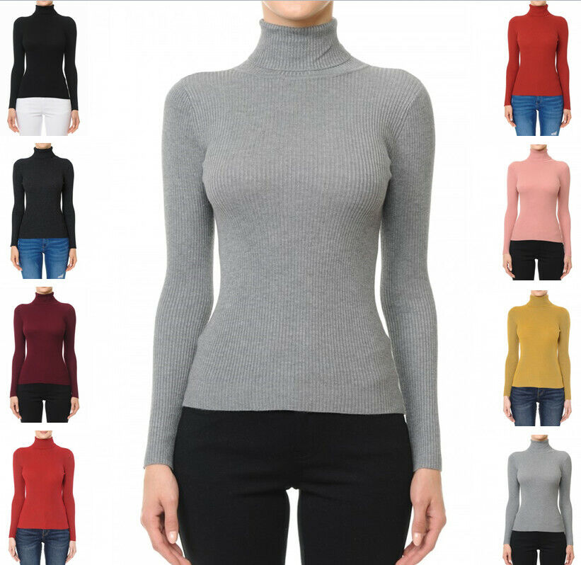 Women's Turtleneck Long Sleeve Rayon Blend Sweater Top Clothing, Shoes & Accessories