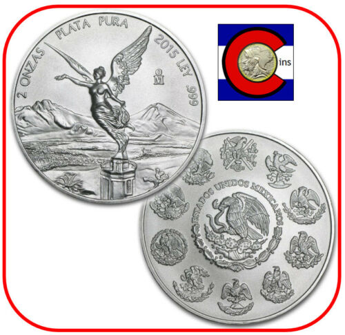 2015 Mexico Libertad 2 oz BU Silver Coin in direct fit capsule
