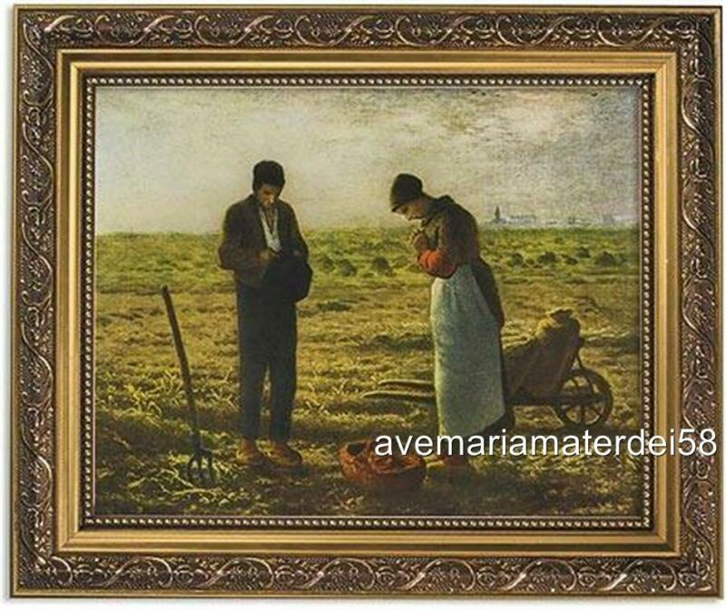 """Millet The Angelus Catholic Picture 8"""" x 10"""" Print 11"""" x 14"""" Gold Frame"""