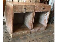 Pair Of Limed Oak Bedside Cabinets
