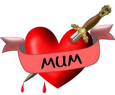 Mum Heart, Dagger and Banner Temporary Tattoo](Mom Heart Tattoos)