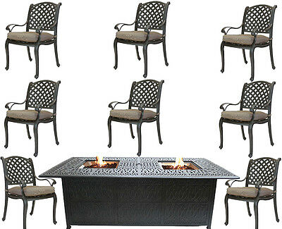 9 piece outdoor dining set with fire pit propane cast aluminum table and chairs  ()