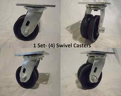 4 X 2 Swivel Caster 78 V-groove Iron Steel Wheel 600 Lbs Each 4