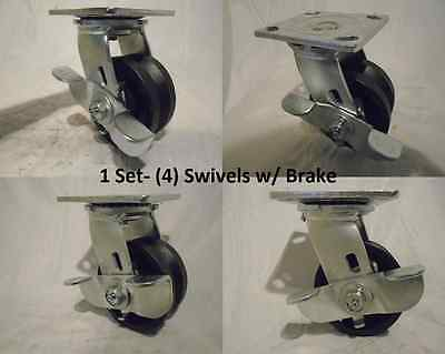 4 X 2 Swivel Caster With Brake 78 V-groove Iron Steel Wheel 600lbs Each 4