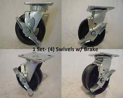 5 X 2 Swivel Caster With Brake V-groove 78 Iron Steel Wheel 900lbs Each 4