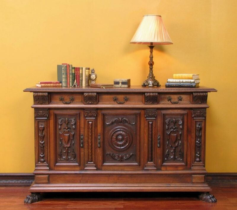 Antique Italian Carved Renaissance Sideboard Cabinet