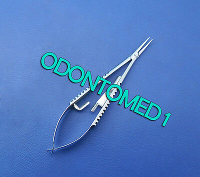 Micro Castroviejo Needle Holder 3.5 Curved With Lock Surgical Dental Instrument