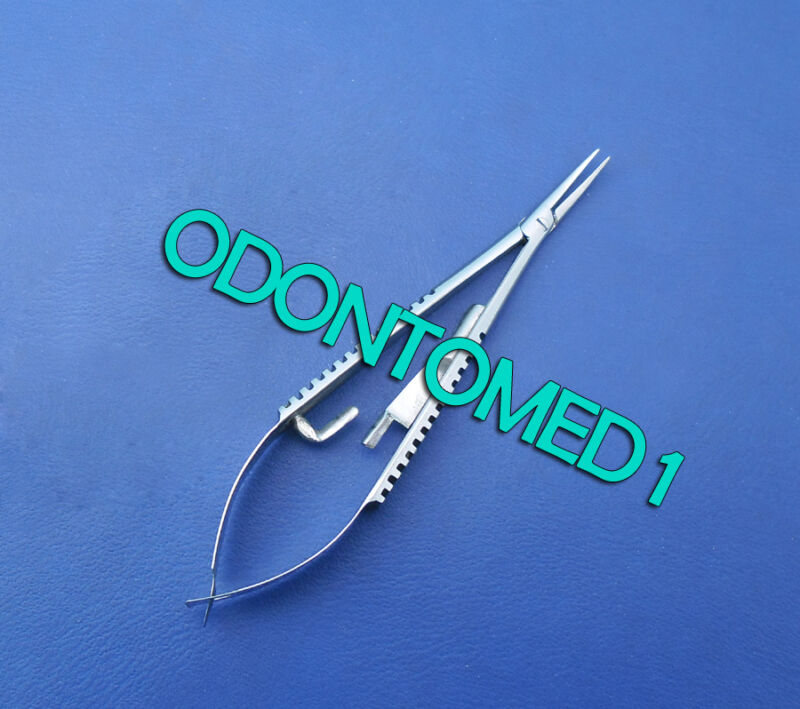 """Micro Castroviejo Needle Holder 3.5"""" Curved With Lock Surgical Dental Instrument"""