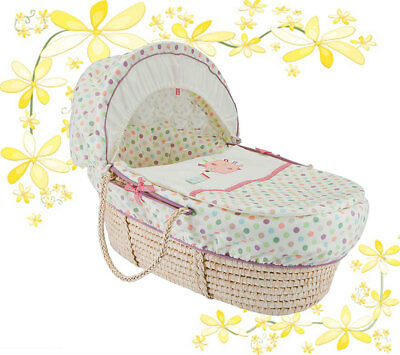 Lane Pickles And Twoo Moses Basket Dressing Bedding Covers. (Lollipop Lane)