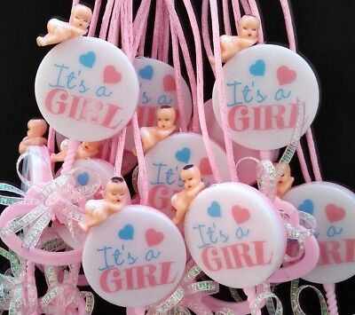 12Pcs Baby Shower Pacifier Necklaces,Girl, Game Prizes,Gift,Favors,Pink,niña ()