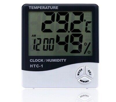 Digital LCD Thermometer Hygrometer Temperature Humidity Meter Gauge white Clock