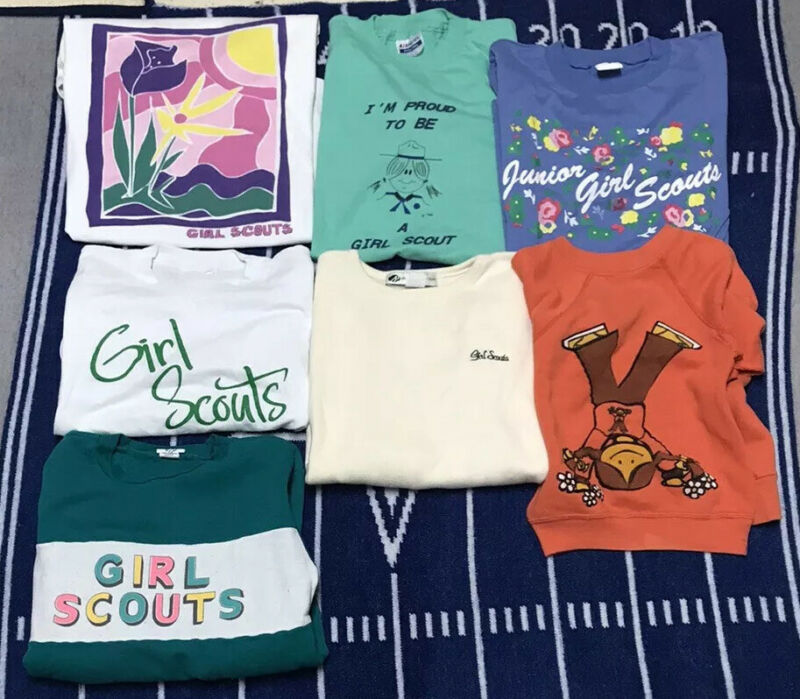 Vintage Girl Scouts Shirt Lot Brownie 80s 90s Sweatshirt Youth