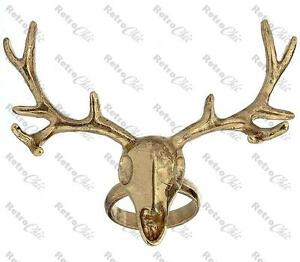 TOPSHOP gold plated STAG HEAD RING skull BIG ANTLERS deer PUNK,GOTH,URBAN quirky