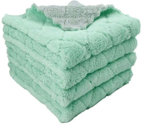"""4-Pack 9.85""""x9.85"""" Microfiber Cleaning Cloth Dish Towels, Double-Sided Dish Dryi"""